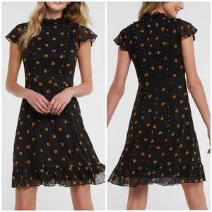 Adrianna Papell Daisy Dot Black Floral Mini Dress